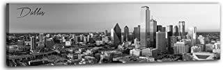 DJSYLIFE Dallas Skyline Canvas Wall Art Decor HD Print Modern City View Landscape Picture Black and White Artwork for Office Living Room Decoration Wooden Framed Ready to Hang 13.8