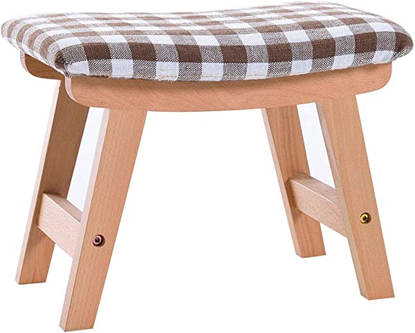 Change Shoes Stool Household Ottoman Creative Low Stool Solid Wood Foot Stool 4 Legs And Removable Linen Cover 39cmx25cmx29cm Max Load 150KG Wood Color