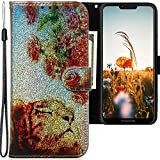 CLM-Tech Hülle kompatibel mit Motorola Moto G7 Power - Tasche aus Kunstleder - Klapphülle mit Ständer & Kartenfächern, Löwe Rosen bunt