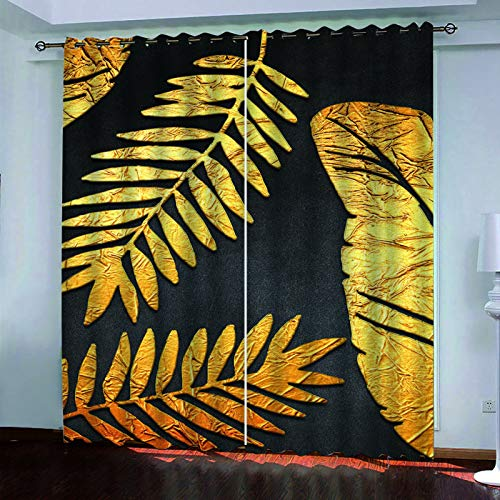 YUNSW Black Bronzing Leaf Printing Curtains, Two-Piece Perforated Curtains, Blackout Curtains For Living Room, Bedroom, Kitchen And Garden