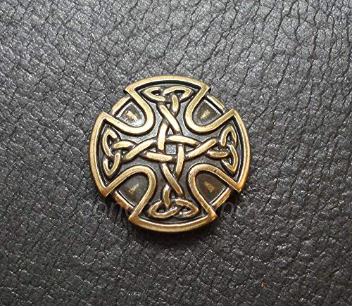 JumpingLight Antique Brass Craft Celtic Cross Concho Horse Saddle Concho 1 inch Screw Back Perfect for Crafts, Scrap-Booking, Jewelry, Projects, Quilts