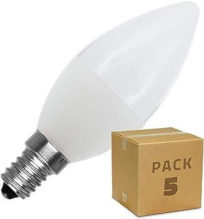 LEDKIA LIGHTING Pack Bombillas LED E14 Casquillo Fino C37 5W (5 un) Blanco Neutro 4000K - 4500K