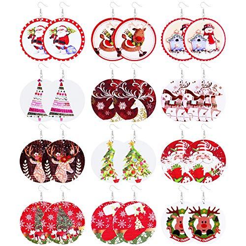 SAILIMUE 12Pairs Wooden Christmas Earrings Set For Women Lightweight Dangle Drop Christmas Earrings Santa Snowman Claus Elk Sock Christmas Tree Hook Dangle Earrings