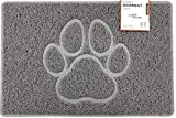 PAW Embossed Shape Door Mat Dirt-Trapper Jet-Washable Doormat【Use Indoor or Sheltered Outdoor 】(60x40cm/23.6x15.7inches, Small) GREY