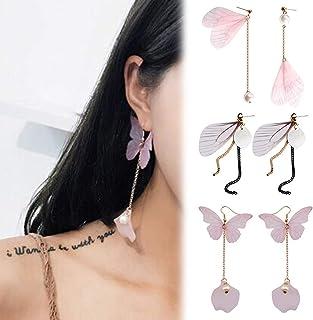 1 Par de Pendientes Colgantes de gota de Mariposa Perla Cristal Pendientes de línea larga oreja R