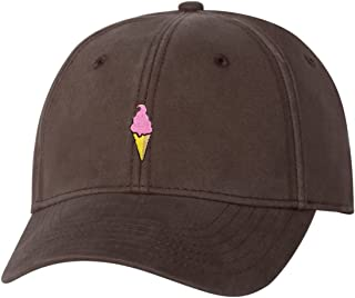 Adult Ice Cream Cone Embroidered Dad Hat Structured Cap