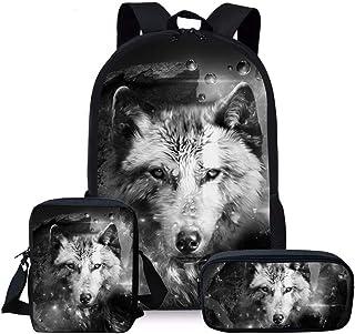 Juego de 3 mochilas escolares para niños, niñas y niños, bolso cruzado pequeño, lobo (Gris) - Nopersonality