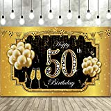 Happy 50th Birthday Backdrop Banner, Extra Large Fabric Black Gold 50 Anniversary Sign Poster 50th Birthday Party Backdrop Background Banner for Men Women 50th Birthday Party Decorations Supplies