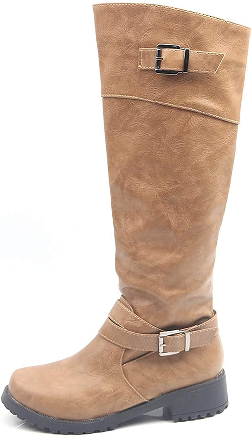 Womens Knee High Ridng Boots Wide Calf Leather Zip Work Booties Chunky Low Heels Strappy Hiking shoes(-)