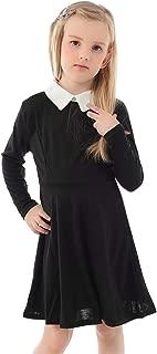 Girl's Peter Pan Collar Flare Dress Long Sleeve Casual Skater Dress 5-13 Years