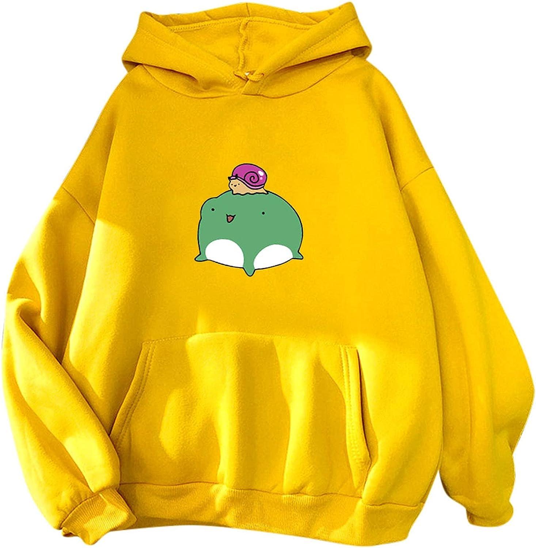 TAYBAGH Hoodies for Women, Sweatshirts Casual Frog Print Long Sleeve Teen Girls Pullover Tops Cute Graphic Jumper Hoodie