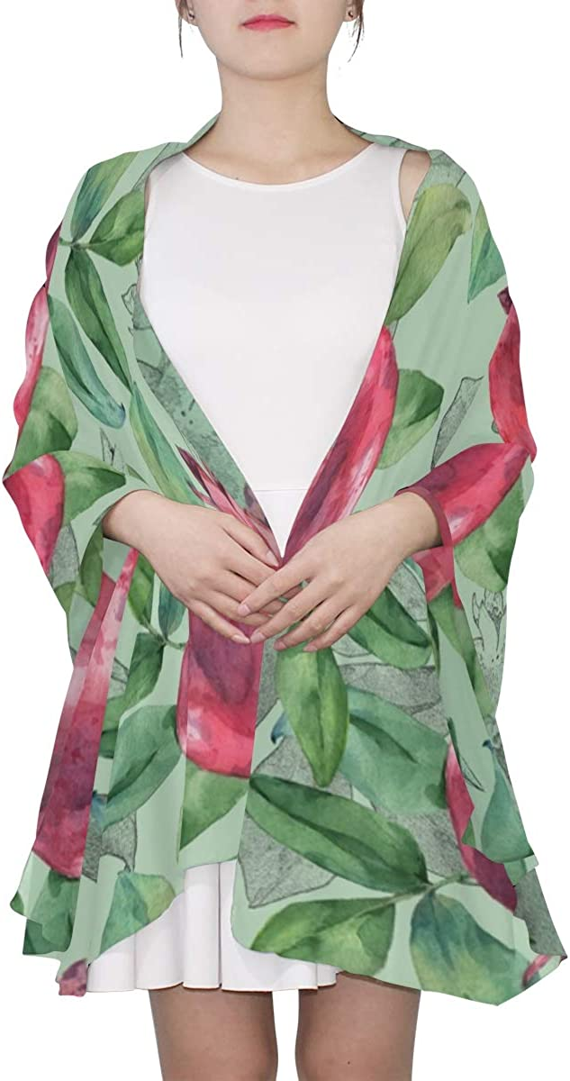 Pomegranate Fruit Leaves And Flowers Unique Fashion Scarf For Women Lightweight Fashion Fall Winter Print Scarves Shawl Wraps Gifts For Early Spring