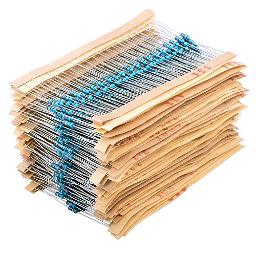 Amazon.es - Metal Film Resistors Kit 1 ohm-10M ohm 1/4W 64 Values 1280PCS Assortment Kit