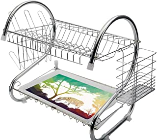 Stainless Steel 2-Tier Dish Drainer Rack Wildlife Decor Kitchen Drying Drip Tray Cutlery Holder Digital Zebra Figure in Fractal Display Vivid Colors A Look at Kenya Illustration,Multi,Storage Space Sa