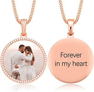 YIMERAIRE Personalized Photo Necklace with Stainless Steel Chains Picture Pendant Custom Engraving Pendant Hip Hop Jewelry for Men Women