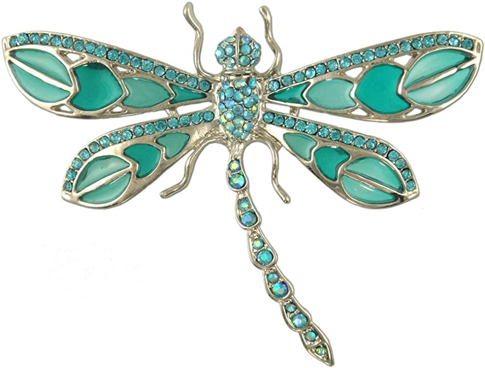 RHODIUM PLATED CRYSTAL DRAGONFLY BROOCH MADE WITH SWAROVSKI ELEMENTS