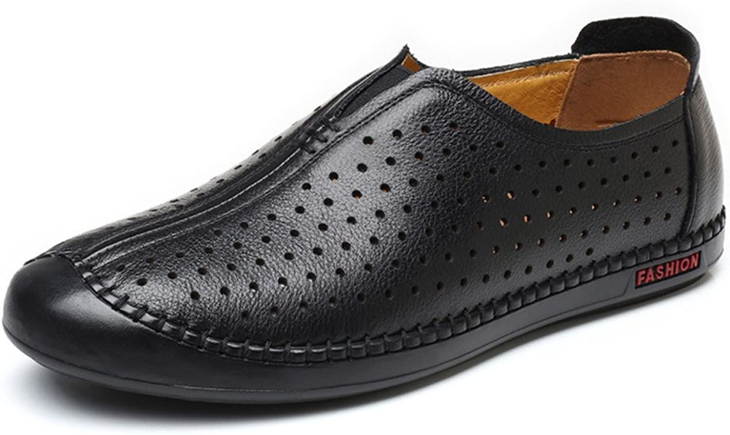 SRY-shoes Men's Classic Genuine Leather shoes Breathable Perforation Round Toe Slip-on Flat Sole Loafer