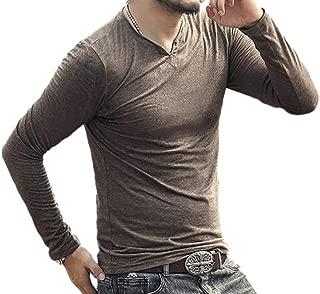 [ウィトパ] [在庫処分セール] キーネック 小顔効果 着回し シンプル カジュアル シャツ メンズ