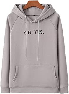 Womens Hood Sweatshirt Letters Printed Casual Pullover Tops with Pockets
