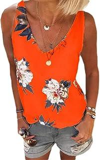 HEFASDM Women Casual Leisure Summer V Neck Oversized Floral Print Vests