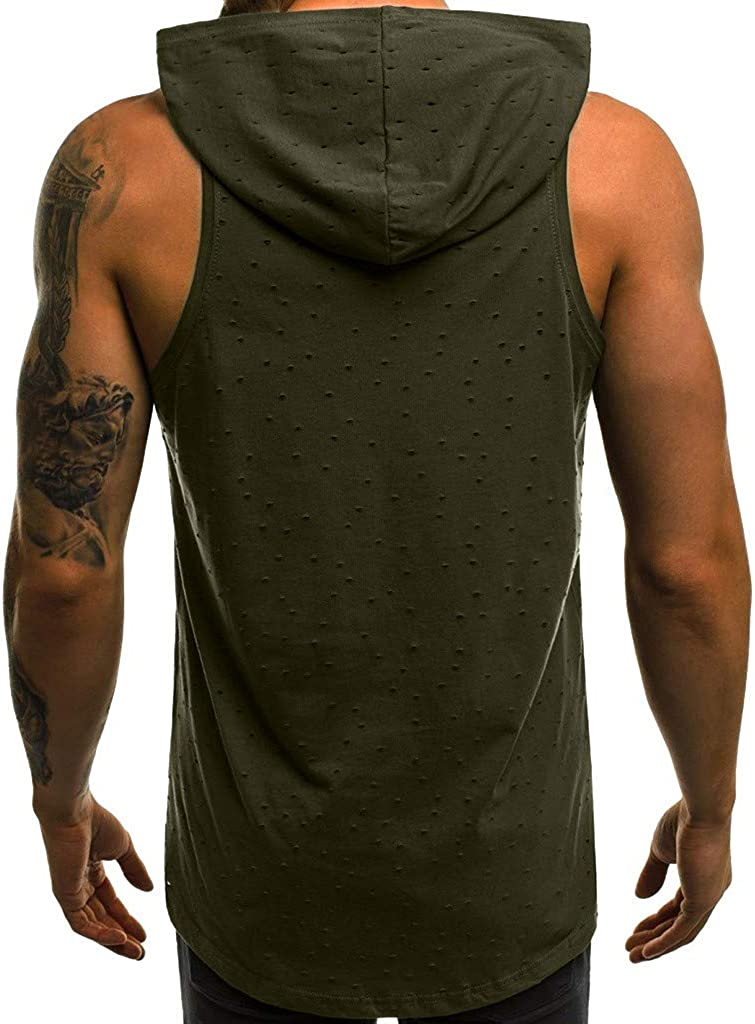 F_Gotal Men's Gym Workout Bodybuilding Stringer Tank Top Shirt Casual Hole Sleeveless Fitness Hoodie Muscle T-Shirt Vest