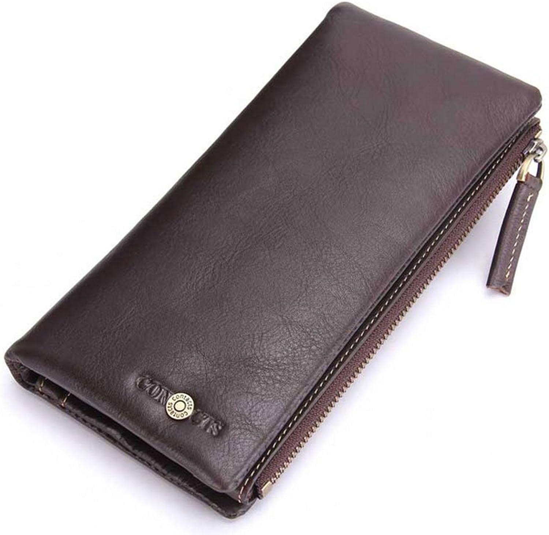 Y-LJ Geldbörsen männer Männer Walle echtes Leder Brieftasche Krotitkartenfächer Reißverschluss Geldbörse Freizeit Lange Abschnitt Geldbörse (Farbe   braun) B07Q42H9W8