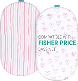 Bassinet Fitted Sheets Compatible with Fisher-Price Soothing Motions Bassinet, 2 Pack, 100% Jersey Knit Cotton Fitted Shee...