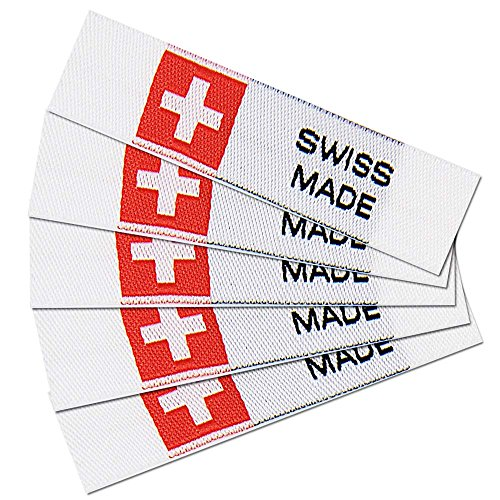 namensbaender Textiletiketten Swiss Made, Webetiketten, Stoffetiketten für Handarbeit (20, Polyester)