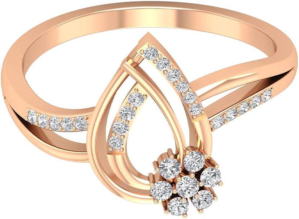 Pear Shape Engagement Ring, HI-SI 1/4 Ct Diamond Wedding Ring, Antique Teardrop Ring, Bridal Statement Ring, Partywear Flower Ring, Anniversary Rings, 14K Gold