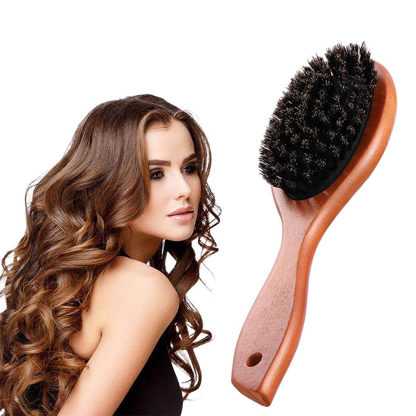 ゆり勇敢な過去帯電防止くし形くし形カーリー波状ストレートドライウェットまたは薄い髪の男性と女性に適した耐熱性天然剛毛くし