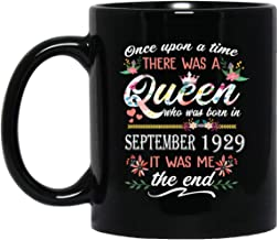 Queen who was born in September 1929 Mug Excellent 90th Birthday Gift 90 Years Old mug for Women Lady Girls, 11oz Black Tea Cup