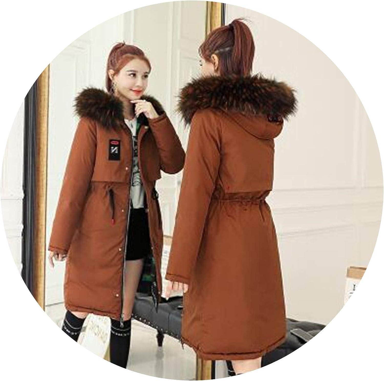 HeatTracing Prefect,Warm Hooded Long Down Women Both Side Winter Coat Jacket Clothing for women Overcoat,Camel,L
