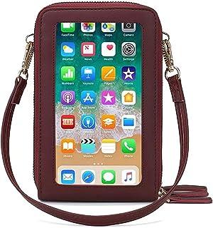 Fangoo Donna Borsa a tracolla per cellulare Piccola Borsa per cellulare Multifunzione borsetta a tracolla con touchscreen ...