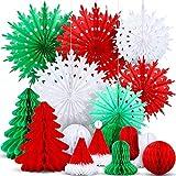 16 adornos navideños de copos de nieve, decoración de papel para abanicos, árboles de Navidad, sombrero de panal de abeja, decoración para techo, habitaciones,decoraciones colgantes
