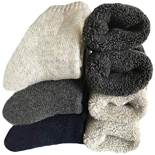 Mens Heavy Thick Wool Socks - Soft Warm Comfort Winter Crew Socks (Pack of 3/5),Multicolor,One Size 7-11