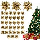Flor de Pascua Artificial Navidad (Pack de 36) - Poinsettia Artificial Purpurina Dorada Decoraciones para Guirnaldas - Flores Artificiales Manualidades Flor de Pascua Decoración del Árbol de Navidad