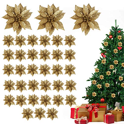 Flor de Pascua Artificial Navidad (Pack de 36) - Poinsettia Artificial Purpurina Dorada Decoraciones...