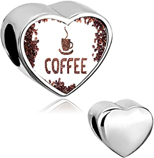 Charmed Craft Office Charms Coffee Cup Charms Beads Love Heart Photo Charms for Snake Chain Bracelets