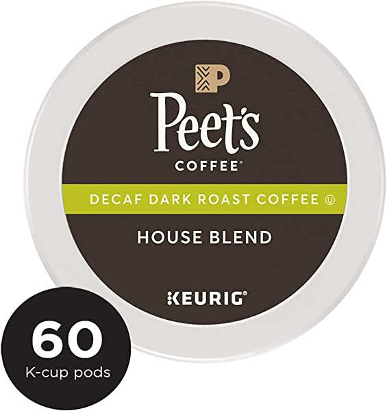 Peet S Coffee K Cups Decaf Dark Roast House Blend 10 Count Pods Pack Of 6 Single Cup Coffee Pods Dark Roast Coffee With Bright Balanced Flavors Decaffeinated For Keurig K Cup Brewers