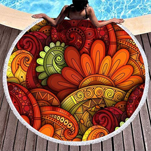 Gamoii - Toalla de playa redonda, multicolor con diseño de flores, para picnic, playa, de rizo, secado rápido, con borlas, para mujer, niños, yoga, deporte, poliéster, blanco, 150 cm