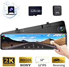 "$159 » Karsuite M9 12"" Mirror Dash Cam 2560x1440P Backup Camera with GPS Touch Screen Front and Rear View Dual Lens Full HD WDR Night Vision, G-Sensor (Free 128GB SD Card Included) for Cars/Trucks"