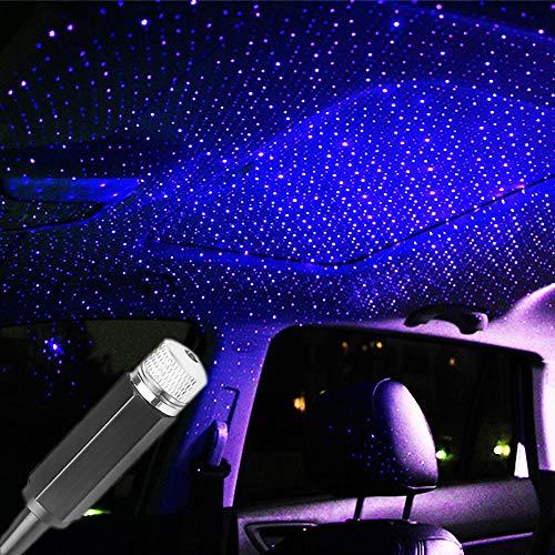 Proyector USB Star Luz Nocturna Coche Galaxy Luz Nocturna Luces Interior Coche Coche Luz de la Ambiente del Coche Luz Decoración de la Luz de Regalo para Coches, Dormitorios y Fiestas - Azul Violeta