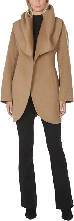 Double Face Wrap Coat With Oversized Collar