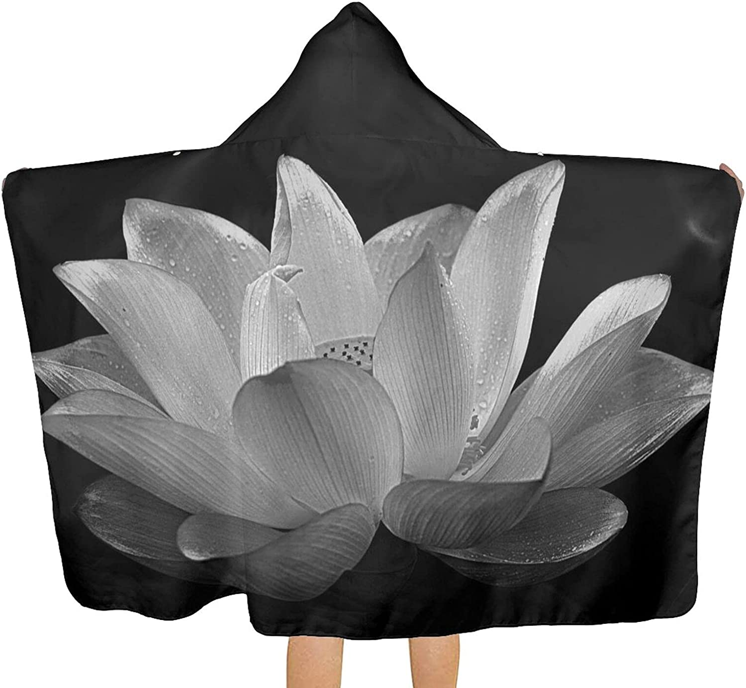 MESCCHSK Black At the price of surprise White Flower Printed Max 88% OFF Beach Towel T Hood Bath with