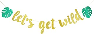 Gold Glittery Let's Get Wild Banner Sign- Jungle Theme Birthday Party 1st Birthday Party Decorations