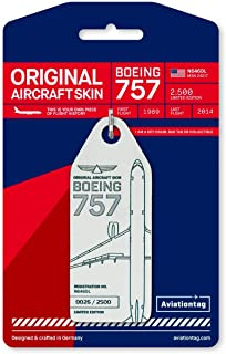 AVT043 AviationTag Boeing 757-200 (Delta) Reg #N646DL White Original Aircraft Skin Keychain/Luggage Tag/Etc with Lost & Found Feature
