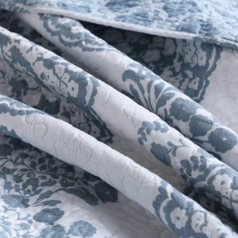 MYYU Ensemble Dessus De Lit Matelassé avec 2 Taie d'oreiller Dessus De Lit Matelassé Couvre Lit Blanc Pur Couverture Coton Courtepointe Imprimé Broderie 3 Pièces,Blue 2 Blue 1