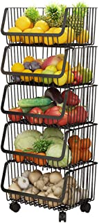 Kitchen Vegetable and Fruit Storage Basket 5-Tier Movable Storage Rack Pots and Dishes Drain Shelf Household Metal Racks (...