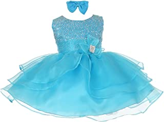 8cf5923ac Baby Girls Turquoise Rhinestuds Bow Sash Flower Girl Headband Dress 3-24M