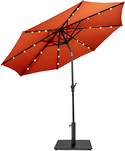 lowest Giantex Patio Umbrella with Base Stand, 10ft Solar Led Lights Outdoor Umbrella and 36 LBS Steel Umbrella high quality Base Stand sale w/ Wheels, 8 Ribs Steel Market Umbrella, 24 Lights Easy Push Button Tilt and Crank, Solar Table Umbrellas for Garden, Deck, Backyard, Pool sale